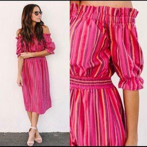Laila Striped Smocked Midi Dress Vici Dolls